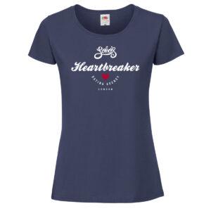 Heartbreaker womens T shirt white on navy