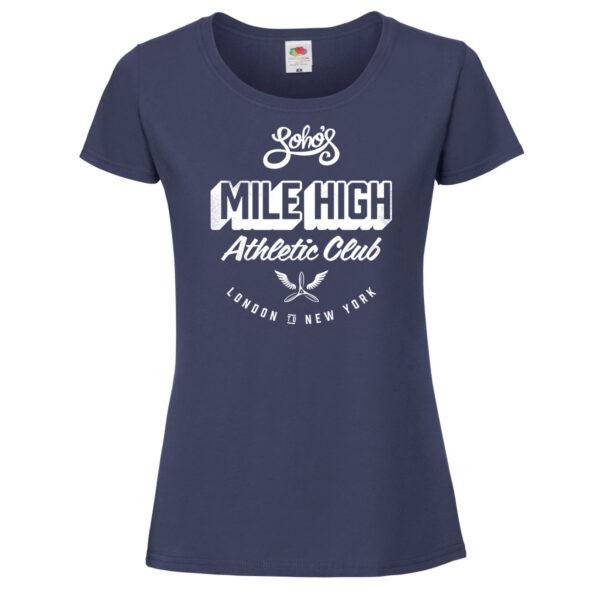 Mile high womens T shirt white on navy