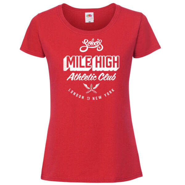 Mile high womens T shirt white on red