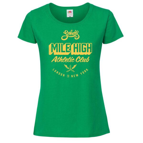 Mile high womens T shirt yellow on green