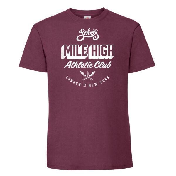 Mile high mens t shirt burgundy