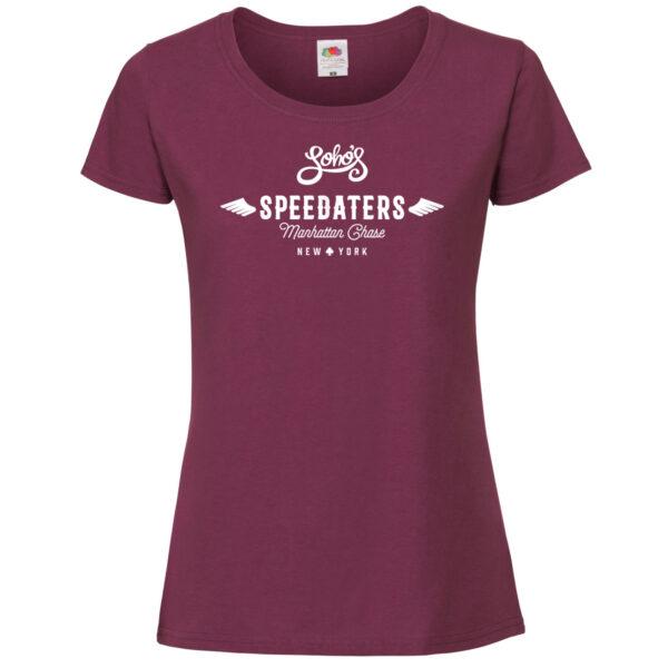 speedaters Womens T shirt white on burgundy