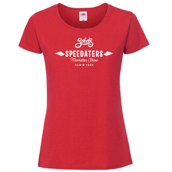 speedaters Womens T shirt white on red
