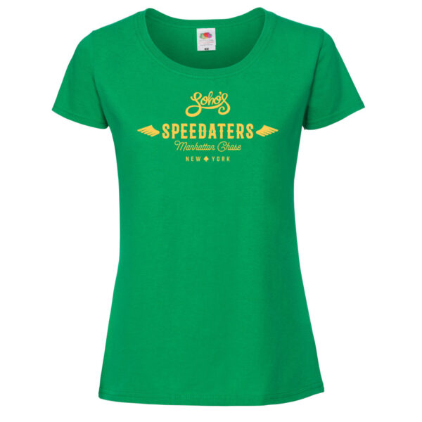 speedaters Womens T shirt yellow on green