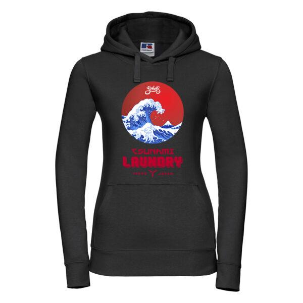 tsunami wave Womens hoodie black