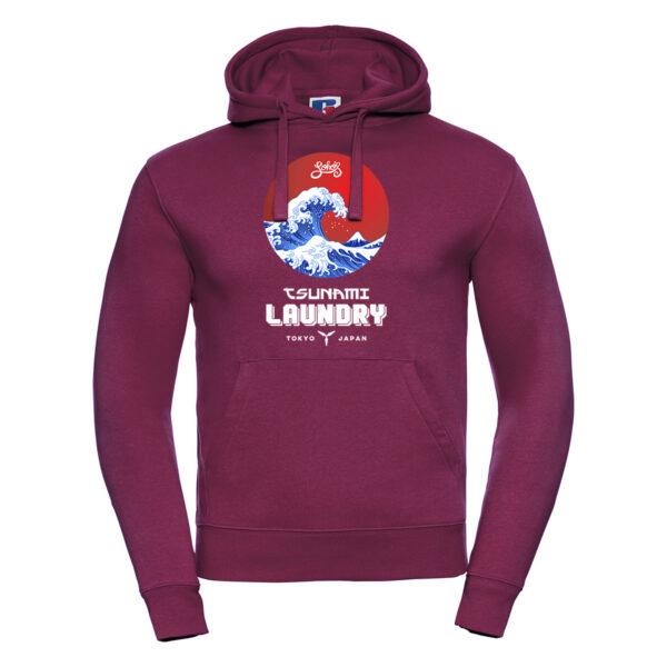 tsunami wave M hoodie burgundy