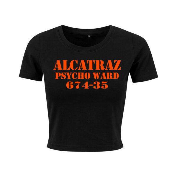 alcatraz black orange cropped t