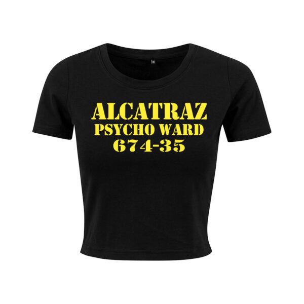 alcatraz black yellow cropped t