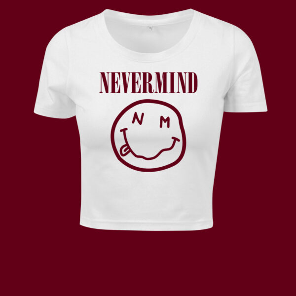 nevermind white cropped t