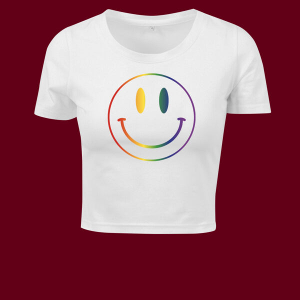 smiley white cropped t