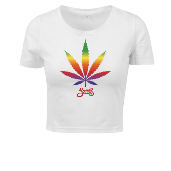 cannabis leaf rainbow cropped top white for women