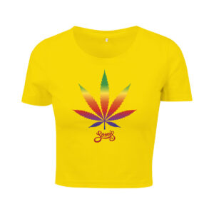 cannabis leaf rainbow cropped top yellow for women